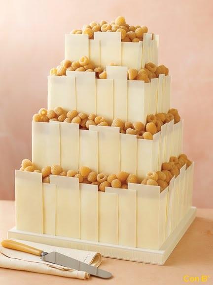 Wedding Cake Recipe-Tempered White Chocolate Panels