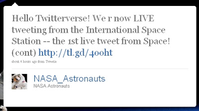 1st live tweet from Space!