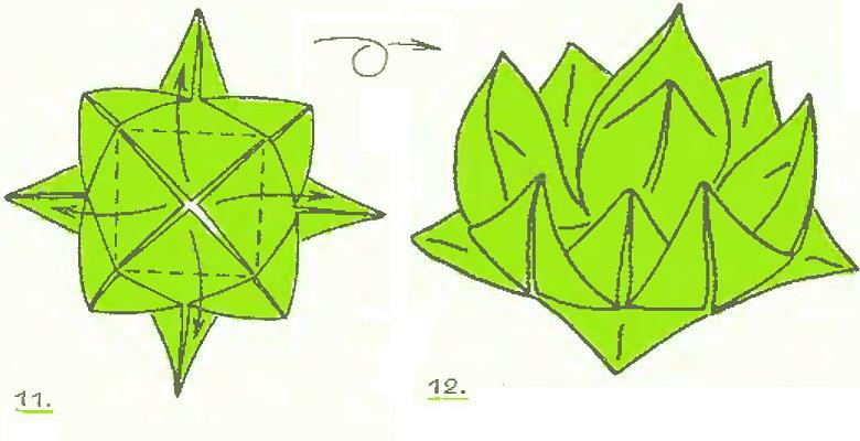 Кувшинка оригами из бумаги схемы поэтапно