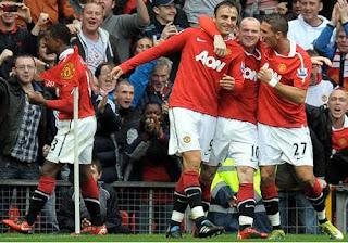 Patrice Evra, Dimitar Berbatov, Wayne Rooney, Federico Macheda squad Manchester United