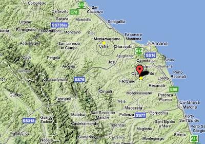 OSTRA,distanza dall'epicentro,mappa