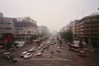View down main boulevard of Xian towards the North Gate of the City Wall