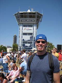 Noah in front of Race Control Tower.