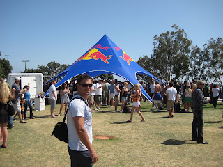 Chad in front of a Red Bull tent.