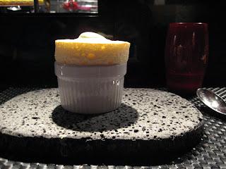 Soufflé with pistachio ice cream.