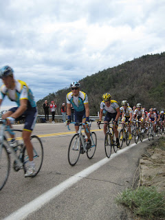 The main peloton with Lance Armstrong in the yellow helmet.  George Hincapie is two places behind him.