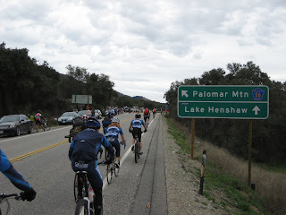 Bicyclists about to head up Palomar Mountain to find a good viewing spot.