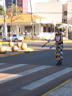 Juggler at the intersection.