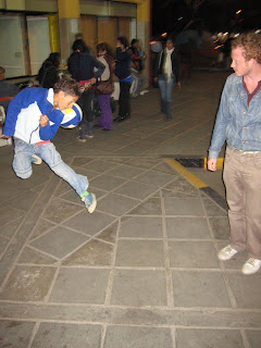 A kid juggling a ball with us at the bus terminal in Argentina.