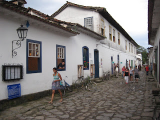 Cobblestone streets of Paraty at twilight.
