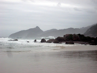 The large waves at Lopes Mendes Beach, considered one of the most beautiful in the world.
