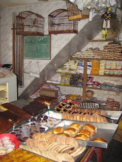 One of many shops selling a wide array of items including baked goods.