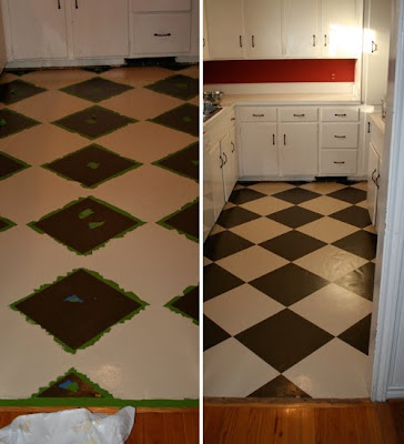 remodelaholic | check mate! painted checkered kitchen floor: guest