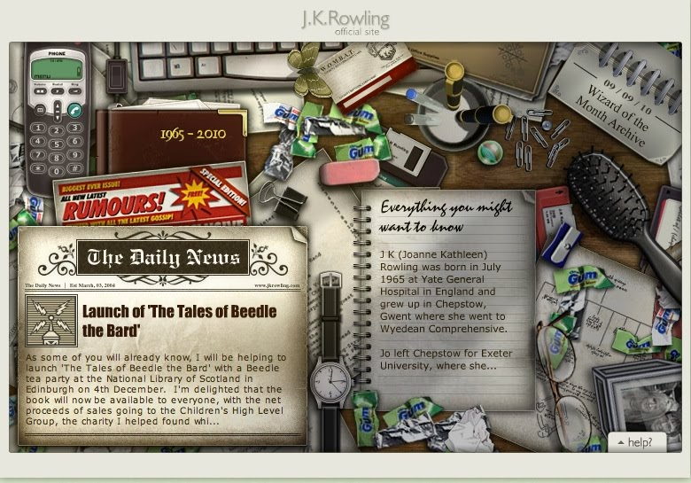 Unlike Mortal Kiss, Rowling's site also contains games and Easter eggs.