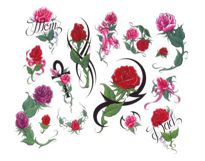 tattoo flash flowers. tattoo flash design