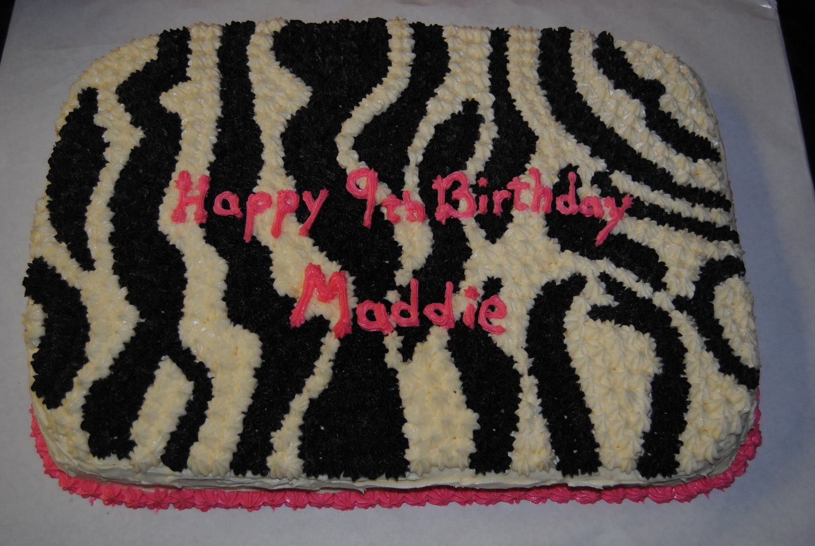 Zebra Design Birthday Cake : Late Night Cakes: Maddie s Zebra Print Birthday cake