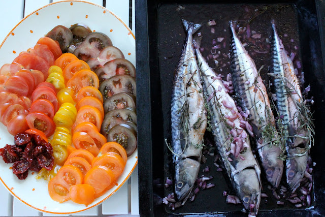 Heritage tomato salad and marinated mackerel in my own red wine vinegar