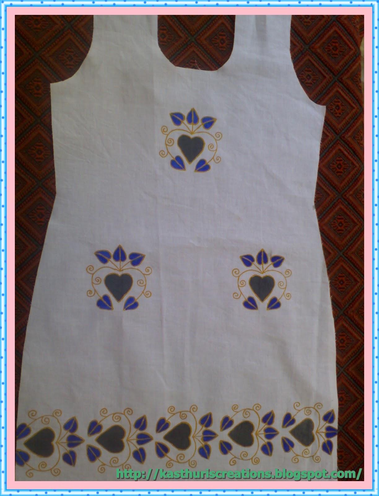 MaNiKa: Fabric painting in Kurti,Frock for fabric painting designs on white kurtis  103wja
