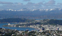 Wellington city - from Johnsons Hill, rare snow on the Orongorongos, July 2003