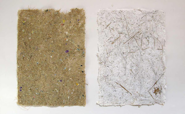 Handmade paper with chopped reeds.