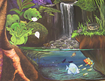 This is a detail view of the underwater scene in our jungle mural.