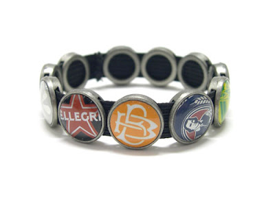 Recycled Bottle Cap Bracelet Jewelry by Lani Mathis and Michael Ayers of GreenSpaceGoods