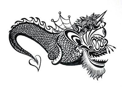 Woolly Dragon Ink Blot Illustration by Lani Mathis and Michael Ayers of GreenSpaceGoods