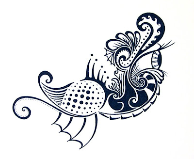 Ink Blot Illustration- The Wise Eyed Quail Boat by Lani Mathis and Michael Ayers of GreenSpaceGoods