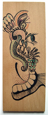 Doodle on wood by Lani Mathis
