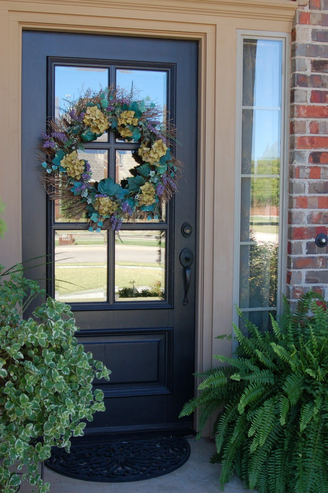 Grey dog designs front door facelift for Front window ideas