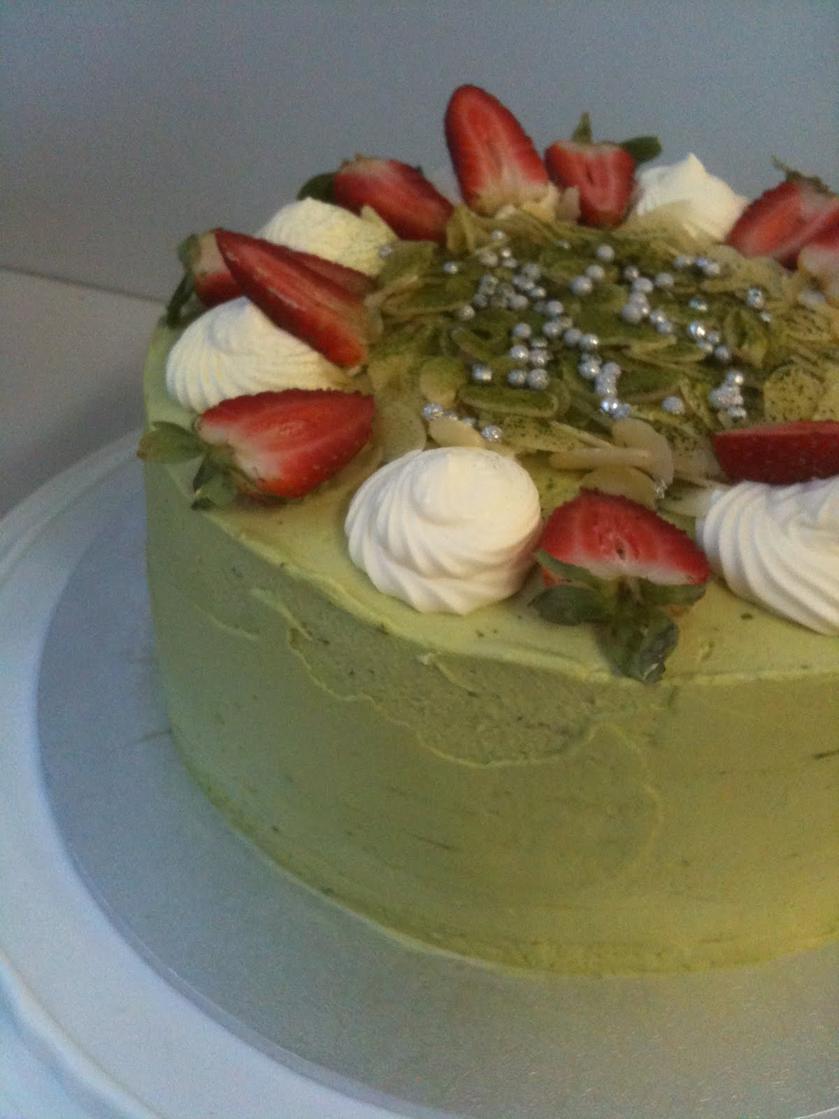 Green Tea Birthday Cake Green tea (matcha) red bean