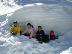 Kids went inside the snow cave.