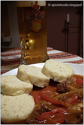 Czech Goulash with dumplings and beer