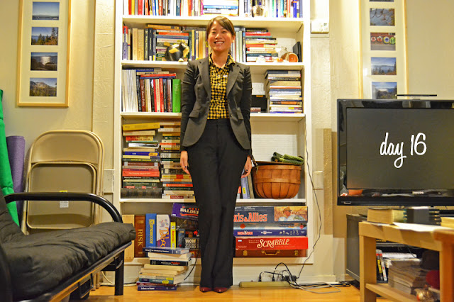 office fashion blogger angeline evans the new professional banana republic suit ross shirt blake scott red pumps