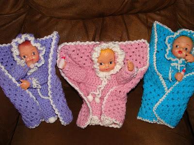 Crochet Pattern Doll Blanket : If you do stuff, stuff gets done: Crocheted baby dolls