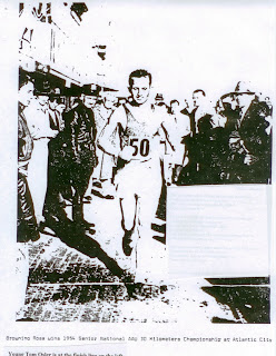 Young Tom Osler at left at Atlantic City finish line as his hero Browning Ross wins