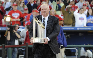 Phils Manager Charlie Manuel with Championship Trophy
