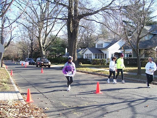 Lorraine finishing the Christ the King 5k run at Haddonfield, NJ