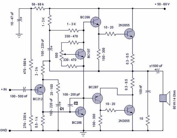skema rangkaian power amplifier 50 watt