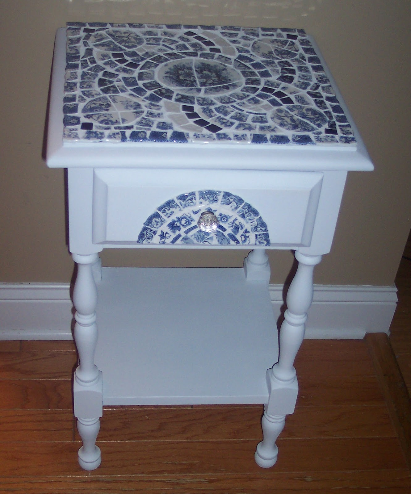 Uniquely Chic Furniture Blue And White Mosaic Side Table. Round Concrete Dining Table. Small White Side Table. Silver Chest Of Drawers. Under Desk Cable Trunking. Living Room Table With Storage. Drawer Pulls For Kids Dressers. Cheap Kitchen Drawer Units. Under Bed Drawers Ikea