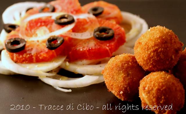 polpette pesce, merluzzo, insalata arance, finocchio
