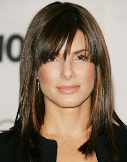 Sandra Bullock Medium Straight Cut With Bangs