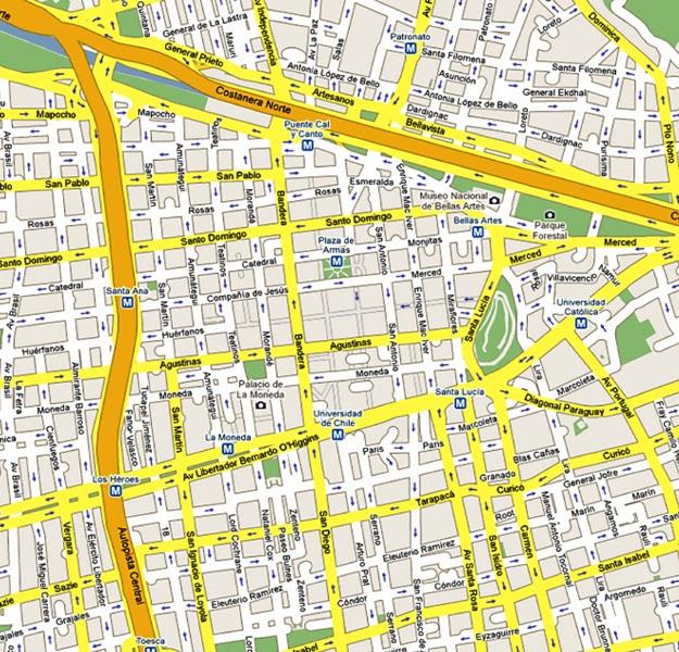 Mapa de la ciudad de santiago de chile for Calles de santiago de chile