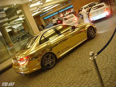 gold mercedes C63 in dubai
