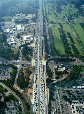 Traffic in Los Angeles seen from above