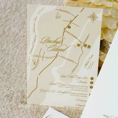 Invitation wedding party and map