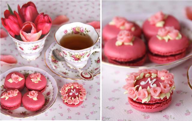 Roses macarons