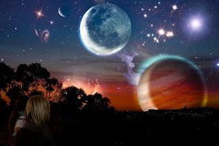 Venus, Mercury, Jupiter and the Moon, by *17