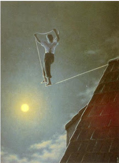 On the tightrope, artist unknown