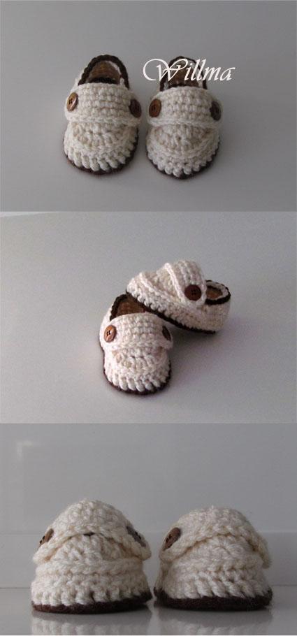 hace tiempo guarde la foto de unos zapatitos hechos a ganchillo que me ...
